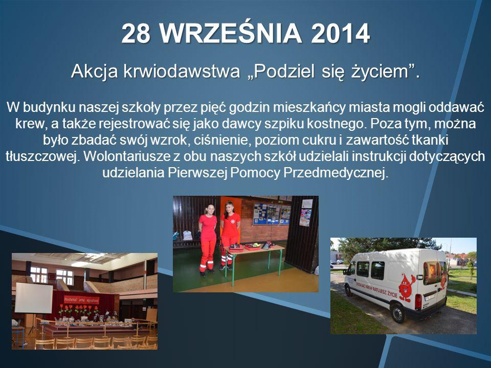 29 WRZEŚNIA 2014 Wybory Samorządu Uczniowskiego Przewodniczącym został Jakub Matuszczak z klasy IIIa, zastępcą Martyna Rzekiecka z klasy IIa, a sekretarzem Natalia Płotek z klasy Ia.