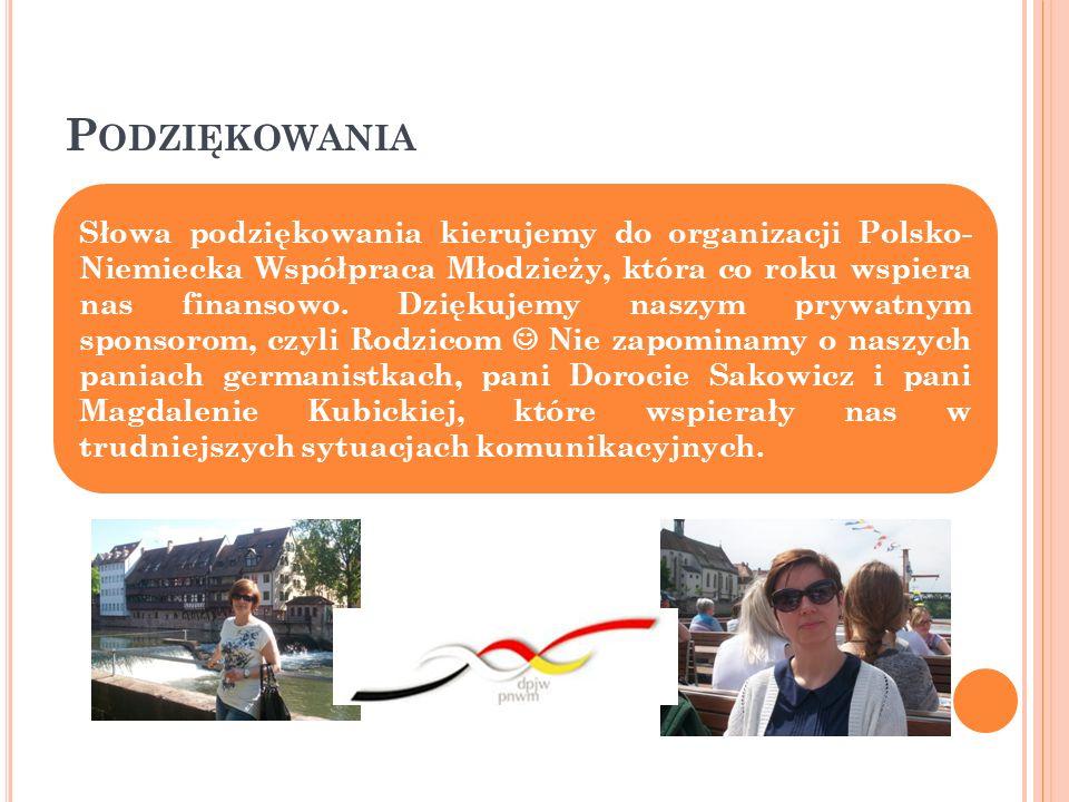 P ODZIĘKOWANIA Słowa podziękowania kierujemy do organizacji Polsko- Niemiecka Współpraca Młodzieży, która co roku wspiera nas finansowo.