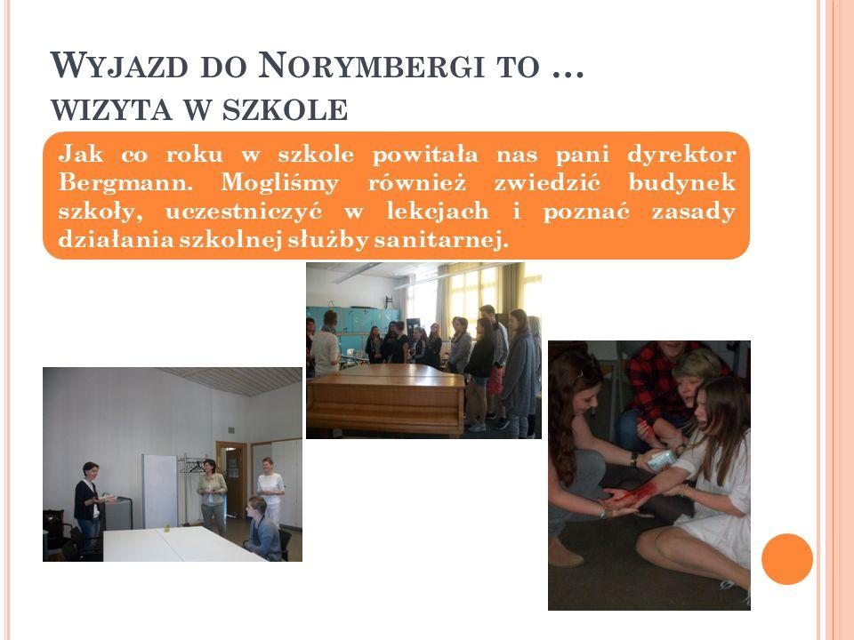 W YJAZD DO N ORYMBERGI TO … WIZYTA W SZKOLE Jak co roku w szkole powitała nas pani dyrektor Bergmann.