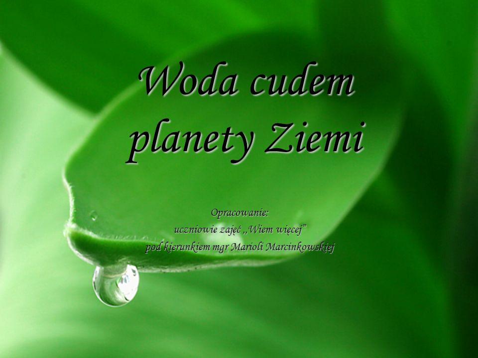 """Woda cudem planety Ziemi Opracowanie: uczniowie zajęć,,Wiem więcej"""" pod kierunkiem mgr Marioli Marcinkowskiej"""