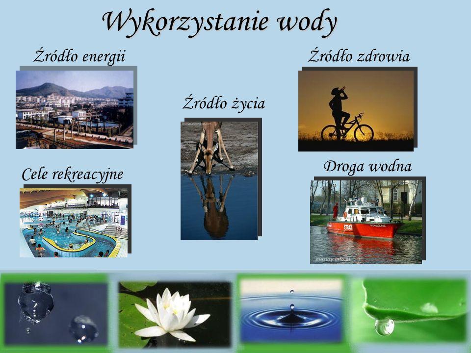 Źródło energii Źródło życia Źródło zdrowia Droga wodna Cele rekreacyjne Wykorzystanie wody