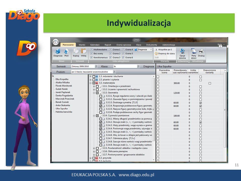 11 EDUKACJA POLSKA S.A. www.diago.edu.pl Indywidualizacja