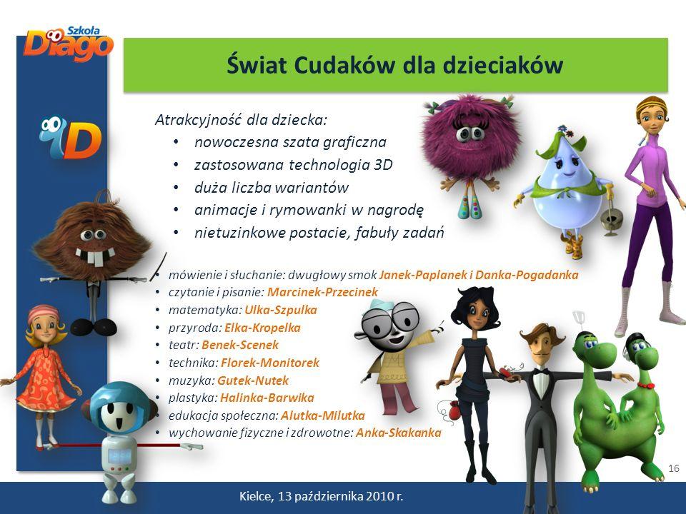 16 Kielce, 13 października 2010 r. Atrakcyjność dla dziecka: nowoczesna szata graficzna zastosowana technologia 3D duża liczba wariantów animacje i ry