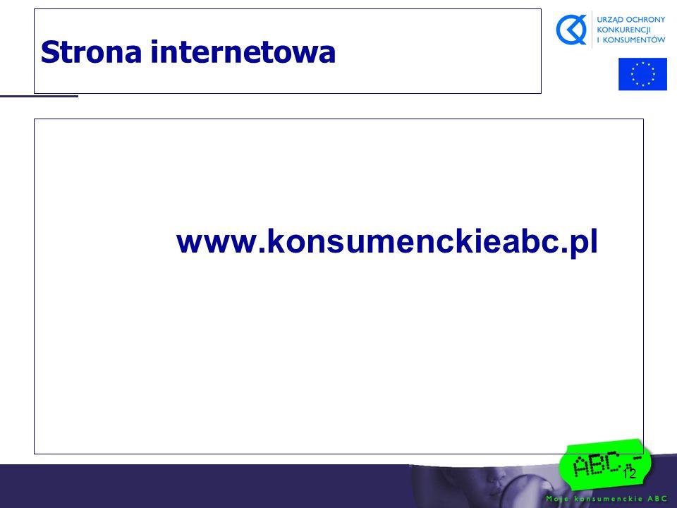 12 Strona internetowa www.konsumenckieabc.pl