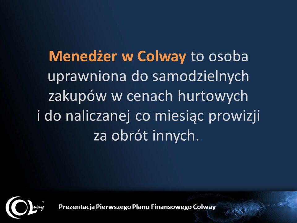 Menedżer w Colway to osoba uprawniona do samodzielnych zakupów w cenach hurtowych i do naliczanej co miesiąc prowizji za obrót innych.. Prezentacja Pi