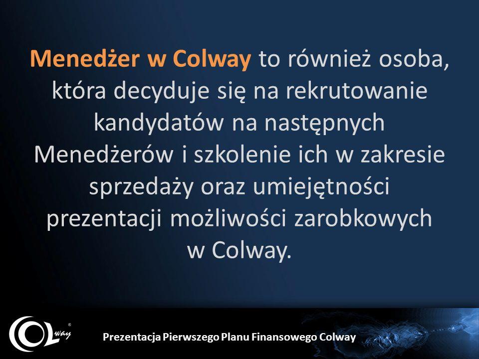 Menedżer w Colway to również osoba, która decyduje się na rekrutowanie kandydatów na następnych Menedżerów i szkolenie ich w zakresie sprzedaży oraz umiejętności prezentacji możliwości zarobkowych w Colway.
