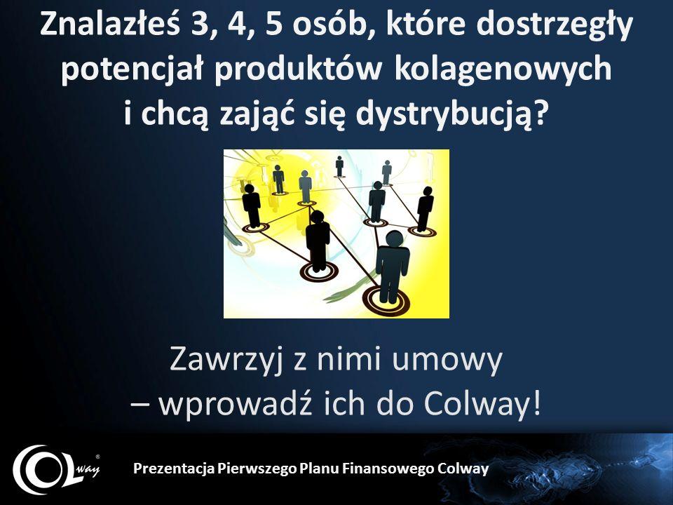 Znalazłeś 3, 4, 5 osób, które dostrzegły potencjał produktów kolagenowych i chcą zająć się dystrybucją? Zawrzyj z nimi umowy – wprowadź ich do Colway!