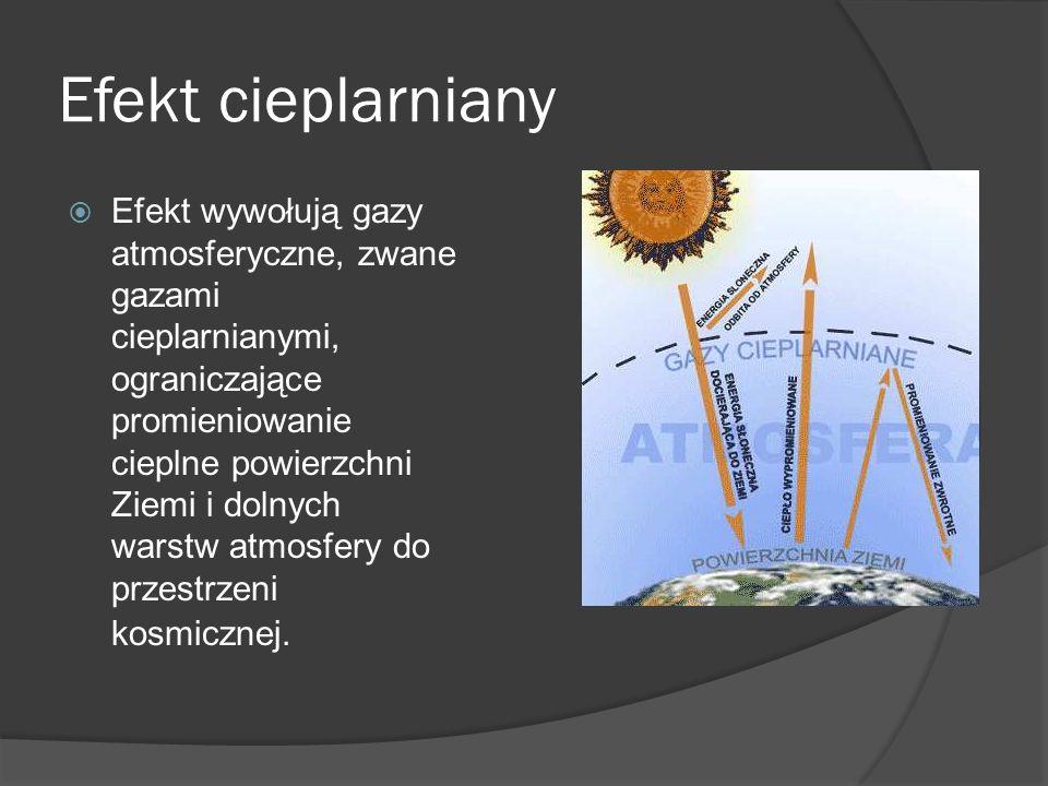 Efekt cieplarniany  Efekt wywołują gazy atmosferyczne, zwane gazami cieplarnianymi, ograniczające promieniowanie cieplne powierzchni Ziemi i dolnych warstw atmosfery do przestrzeni kosmicznej.