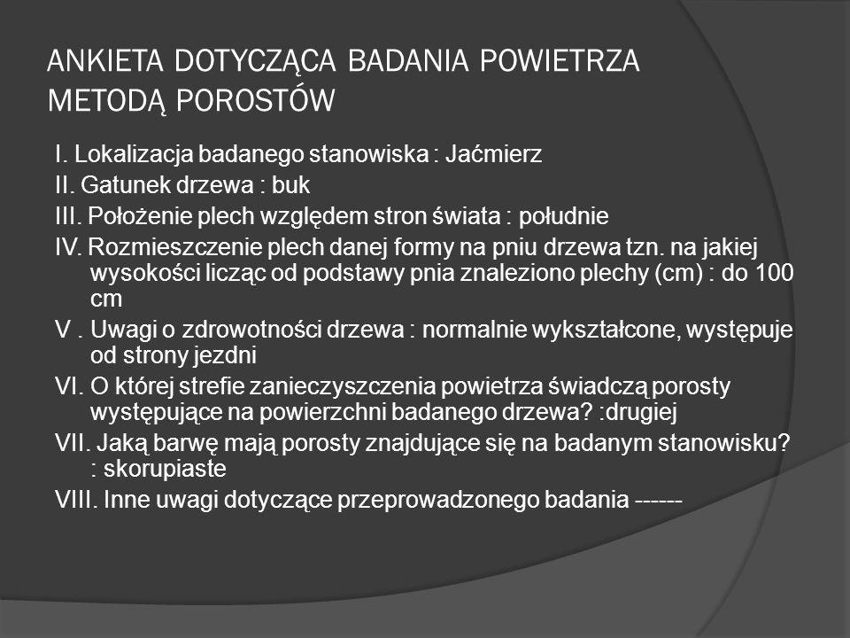 ANKIETA DOTYCZĄCA BADANIA POWIETRZA METODĄ POROSTÓW I.