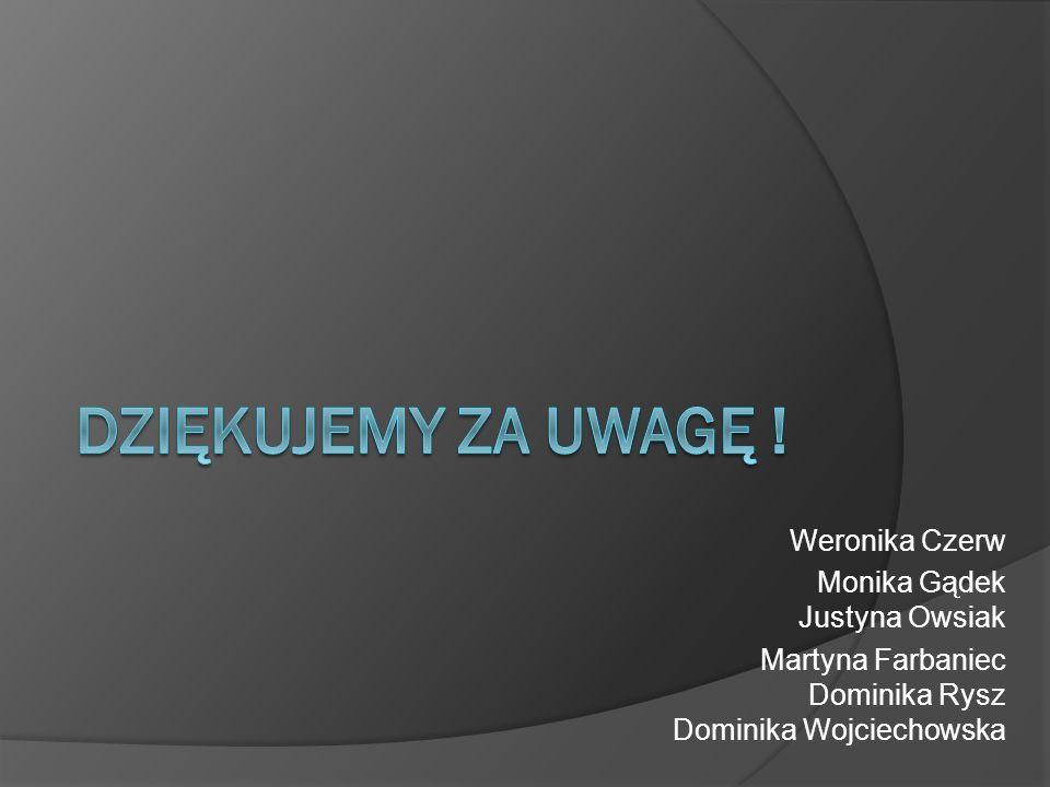 Weronika Czerw Monika Gądek Justyna Owsiak Martyna Farbaniec Dominika Rysz Dominika Wojciechowska