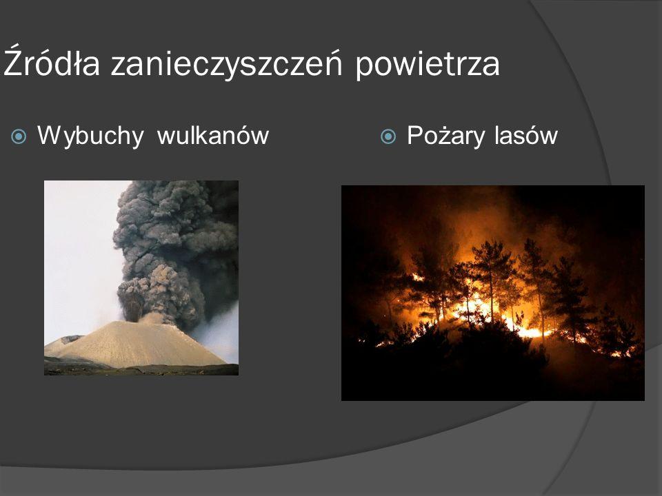 Źródła zanieczyszczeń powietrza  Wybuchy wulkanów  Pożary lasów