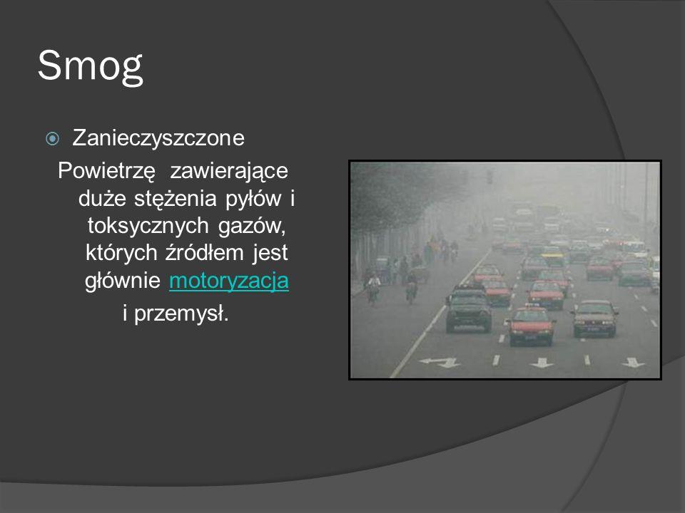 Smog  Zanieczyszczone Powietrzę zawierające duże stężenia pyłów i toksycznych gazów, których źródłem jest głównie motoryzacjamotoryzacja i przemysł.