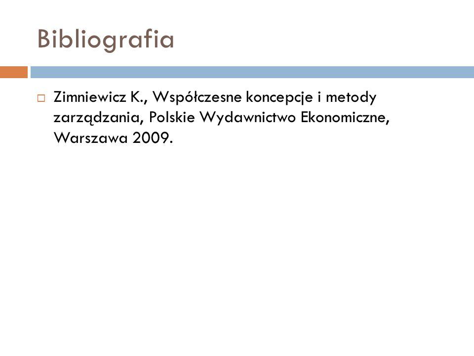 Bibliografia  Zimniewicz K., Współczesne koncepcje i metody zarządzania, Polskie Wydawnictwo Ekonomiczne, Warszawa 2009.