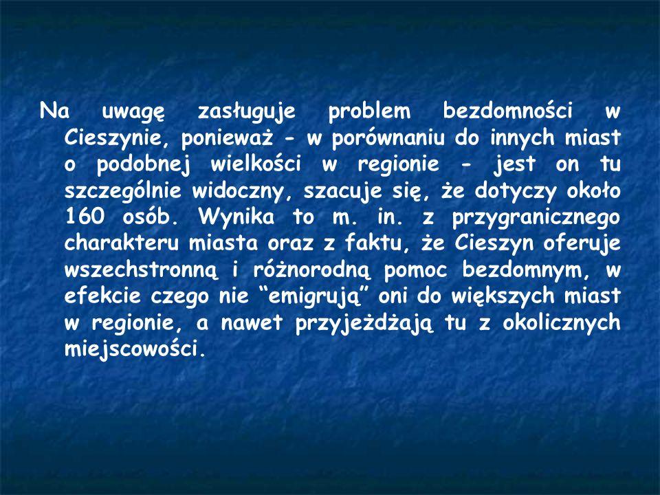 Na uwagę zasługuje problem bezdomności w Cieszynie, ponieważ - w porównaniu do innych miast o podobnej wielkości w regionie - jest on tu szczególnie w