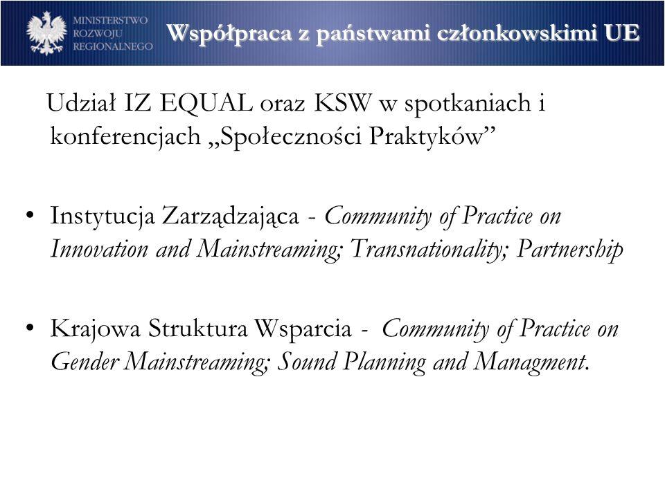 Międzynarodowe konferencje EQUAL – swobodny przepływ dobrych pomysłów – konferencja podsumowująca I rundę EQUAL zorganizowana przez Komisję Europejską i rząd polski – 25-26 luty 2005 r.; Gospodarka Społeczna - Model Aktywizacji, Przedsiębiorczości i Rozwoju Lokalnego – inicjatorem spotkania była Europejska Grupa Sterująca ds.