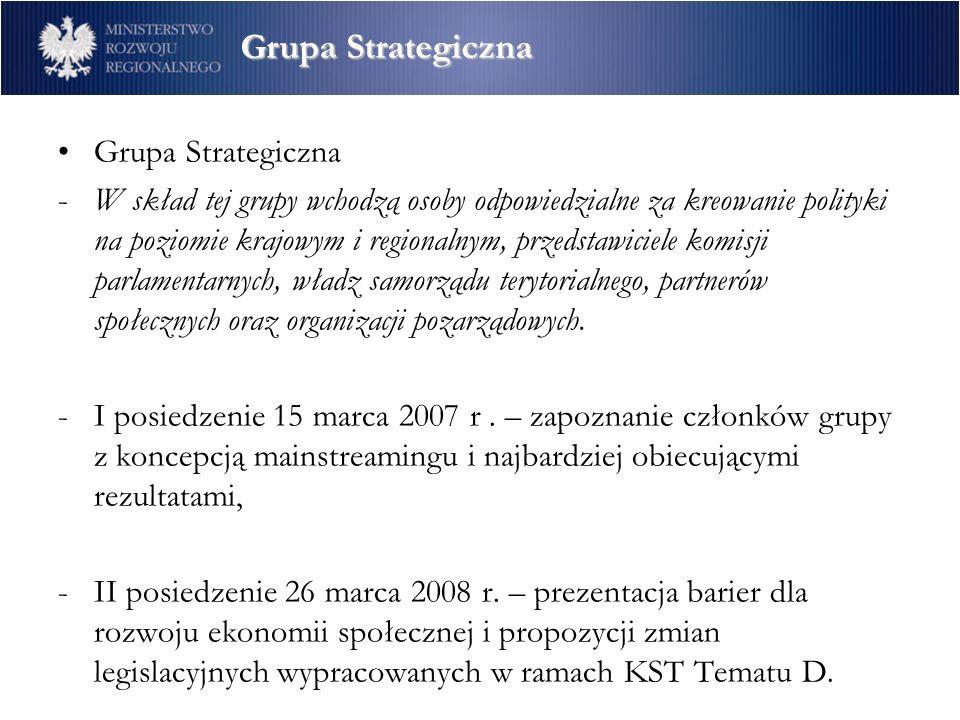 Grupa Strategiczna -W skład tej grupy wchodzą osoby odpowiedzialne za kreowanie polityki na poziomie krajowym i regionalnym, przedstawiciele komisji parlamentarnych, władz samorządu terytorialnego, partnerów społecznych oraz organizacji pozarządowych.