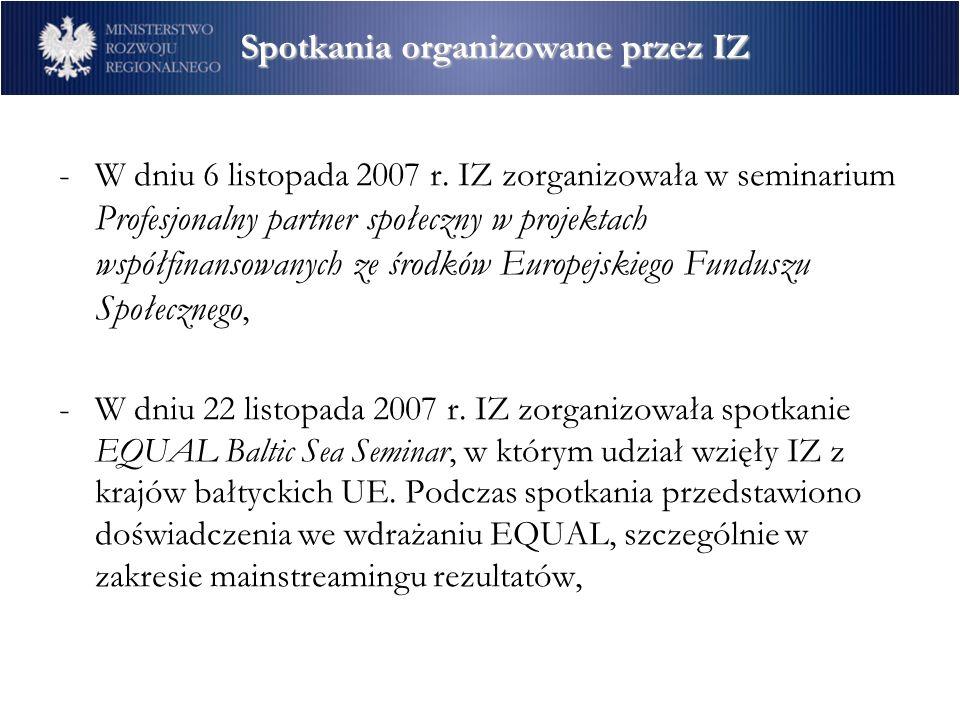 Spotkania organizowane przez IZ -W dniu 6 listopada 2007 r.