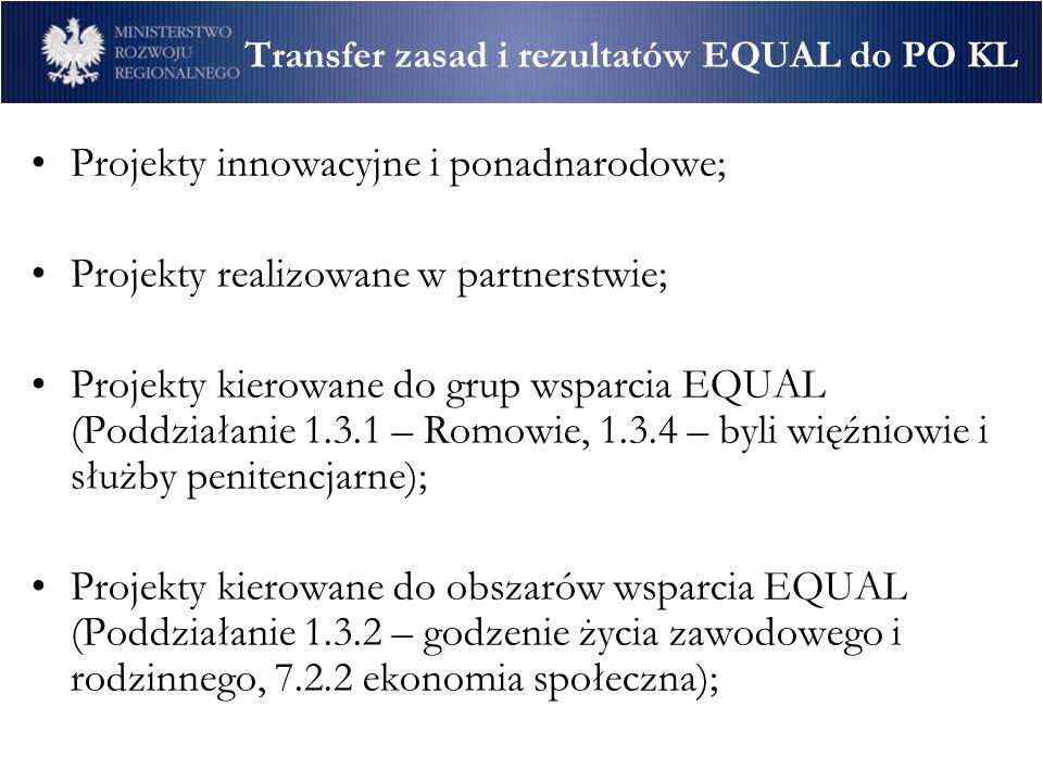 Transfer zasad i rezultatów EQUAL do PO KL Projekty innowacyjne i ponadnarodowe; Projekty realizowane w partnerstwie; Projekty kierowane do grup wsparcia EQUAL (Poddziałanie 1.3.1 – Romowie, 1.3.4 – byli więźniowie i służby penitencjarne); Projekty kierowane do obszarów wsparcia EQUAL (Poddziałanie 1.3.2 – godzenie życia zawodowego i rodzinnego, 7.2.2 ekonomia społeczna);