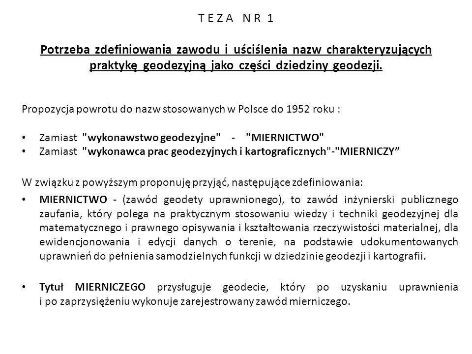 T E Z A N R 1 Potrzeba zdefiniowania zawodu i uściślenia nazw charakteryzujących praktykę geodezyjną jako części dziedziny geodezji.