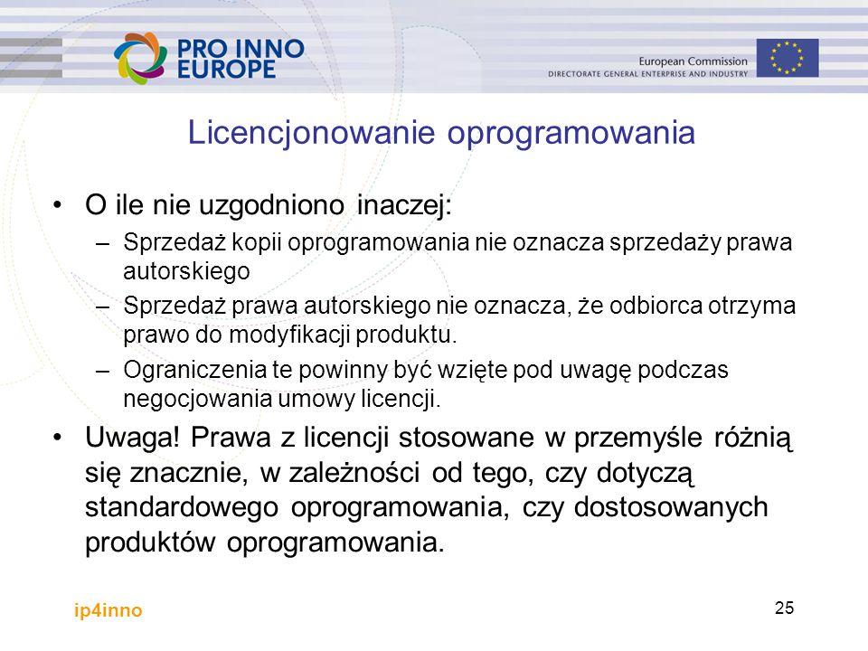 ip4inno 25 Licencjonowanie oprogramowania O ile nie uzgodniono inaczej: –Sprzedaż kopii oprogramowania nie oznacza sprzedaży prawa autorskiego –Sprzedaż prawa autorskiego nie oznacza, że odbiorca otrzyma prawo do modyfikacji produktu.