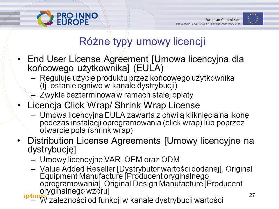ip4inno 27 Różne typy umowy licencji End User License Agreement [Umowa licencyjna dla końcowego użytkownika] (EULA) –Reguluje użycie produktu przez końcowego użytkownika (tj.