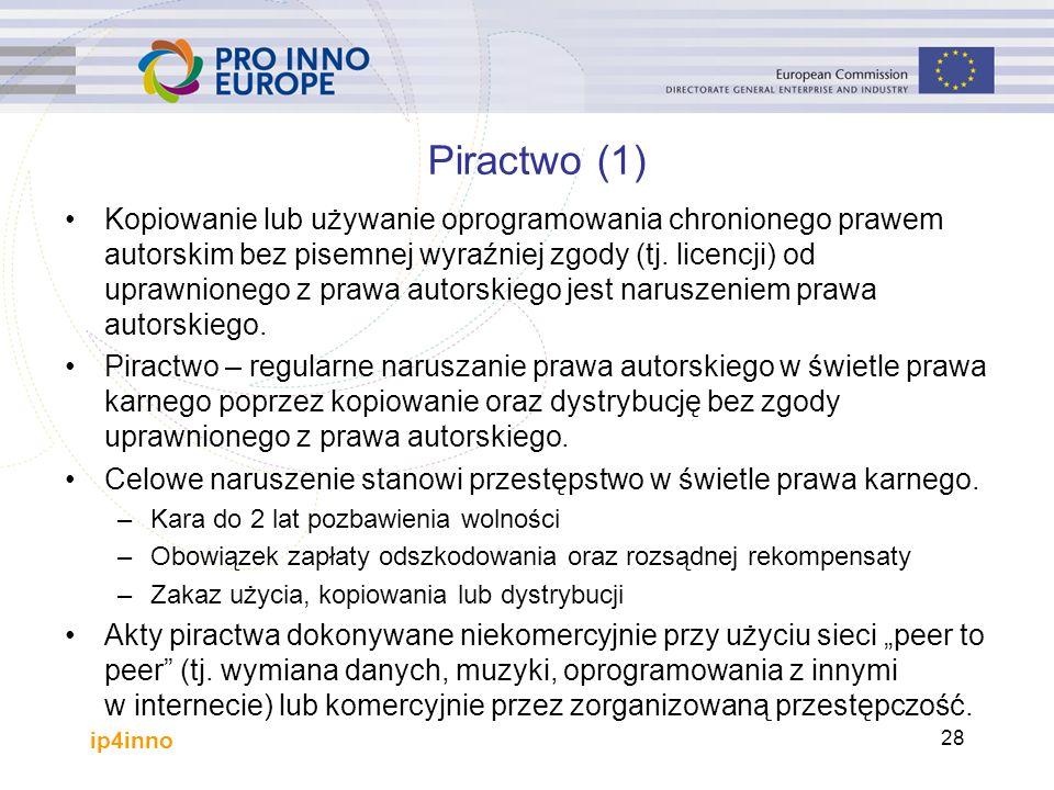 ip4inno 28 Piractwo (1) Kopiowanie lub używanie oprogramowania chronionego prawem autorskim bez pisemnej wyraźniej zgody (tj.