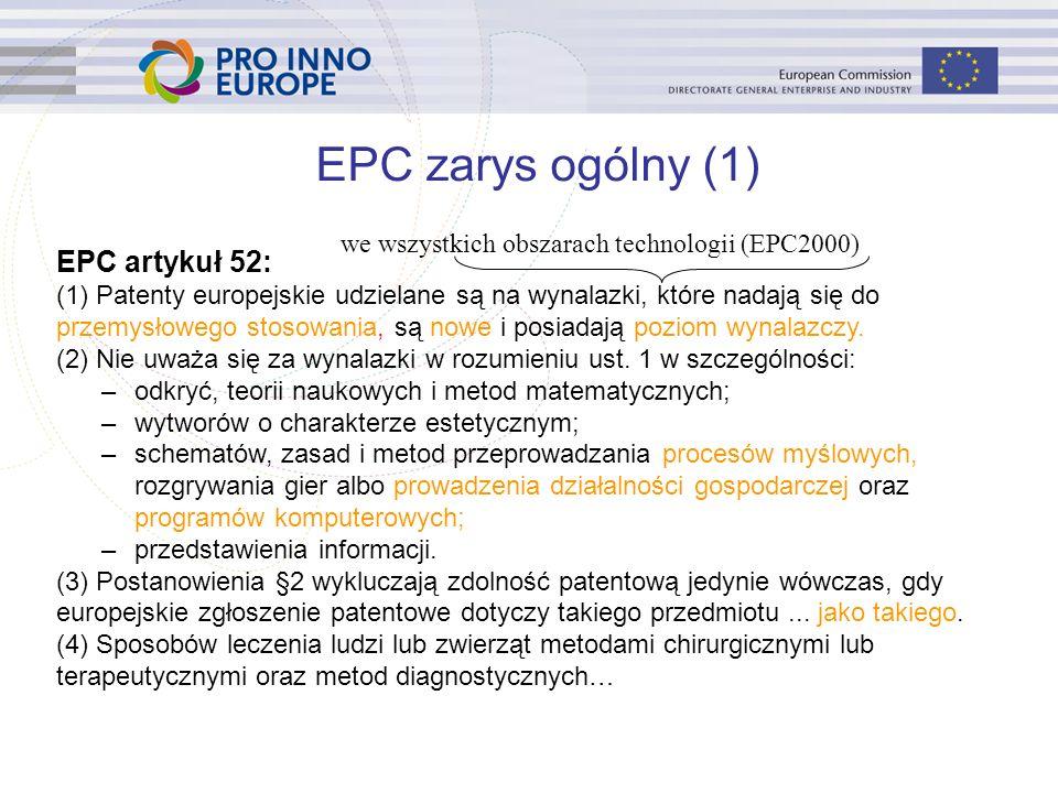 EPC artykuł 52: (1) Patenty europejskie udzielane są na wynalazki, które nadają się do przemysłowego stosowania, są nowe i posiadają poziom wynalazczy.