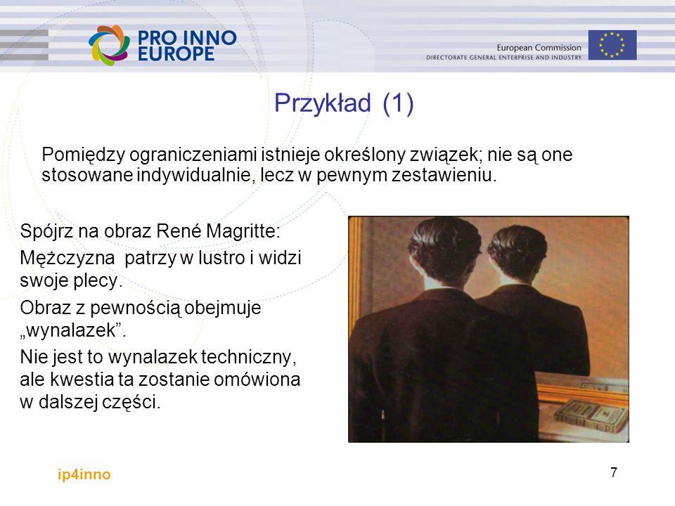 ip4inno 7 Przykład (1) Spójrz na obraz René Magritte: Mężczyzna patrzy w lustro i widzi swoje plecy.