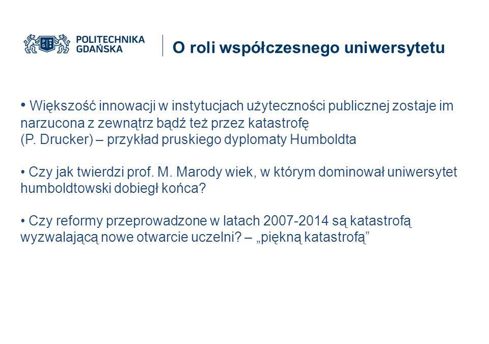 O roli współczesnego uniwersytetu Większość innowacji w instytucjach użyteczności publicznej zostaje im narzucona z zewnątrz bądź też przez katastrofę (P.