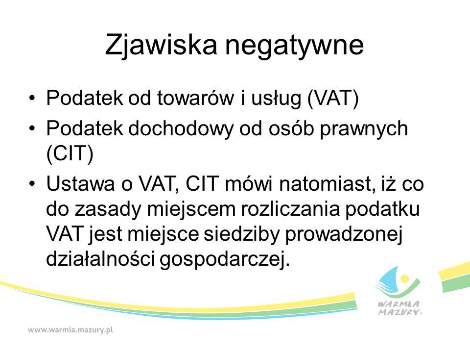 Zjawiska negatywne Podatek od towarów i usług (VAT) Podatek dochodowy od osób prawnych (CIT) Ustawa o VAT, CIT mówi natomiast, iż co do zasady miejscem rozliczania podatku VAT jest miejsce siedziby prowadzonej działalności gospodarczej.