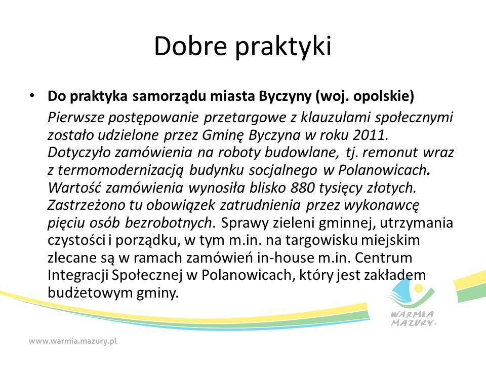 Dobre praktyki Do praktyka samorządu miasta Byczyny (woj.