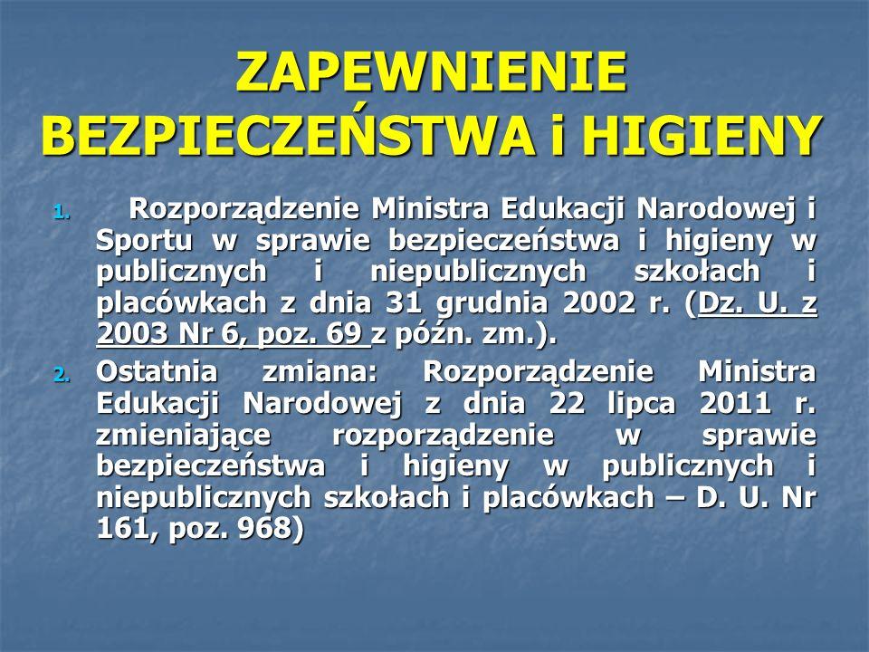 ZAPEWNIENIE BEZPIECZEŃSTWA i HIGIENY 1. Rozporządzenie Ministra Edukacji Narodowej i Sportu w sprawie bezpieczeństwa i higieny w publicznych i niepubl