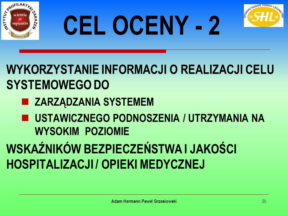 WYKORZYSTANIE INFORMACJI O REALIZACJI CELU SYSTEMOWEGO DO ZARZĄDZANIA SYSTEMEM USTAWICZNEGO PODNOSZENIA / UTRZYMANIA NA WYSOKIM POZIOMIE WSKAŹNIKÓW BEZPIECZEŃSTWA I JAKOŚCI HOSPITALIZACJI / OPIEKI MEDYCZNEJ 20 Adam Hermann.Paweł Grzesiowski CEL OCENY - 2