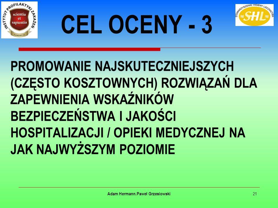 PROMOWANIE NAJSKUTECZNIEJSZYCH (CZĘSTO KOSZTOWNYCH) ROZWIĄZAŃ DLA ZAPEWNIENIA WSKAŹNIKÓW BEZPIECZEŃSTWA I JAKOŚCI HOSPITALIZACJI / OPIEKI MEDYCZNEJ NA JAK NAJWYŻSZYM POZIOMIE 21 Adam Hermann.Paweł Grzesiowski CEL OCENY - 3