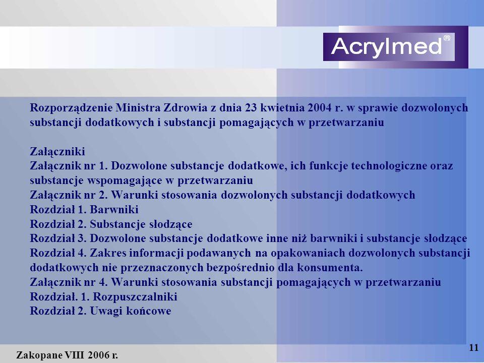 11 Zakopane VIII 2006 r. Rozporządzenie Ministra Zdrowia z dnia 23 kwietnia 2004 r. w sprawie dozwolonych substancji dodatkowych i substancji pomagają