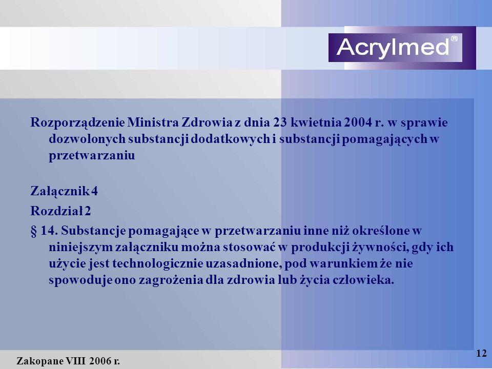 12 Zakopane VIII 2006 r. Rozporządzenie Ministra Zdrowia z dnia 23 kwietnia 2004 r. w sprawie dozwolonych substancji dodatkowych i substancji pomagają
