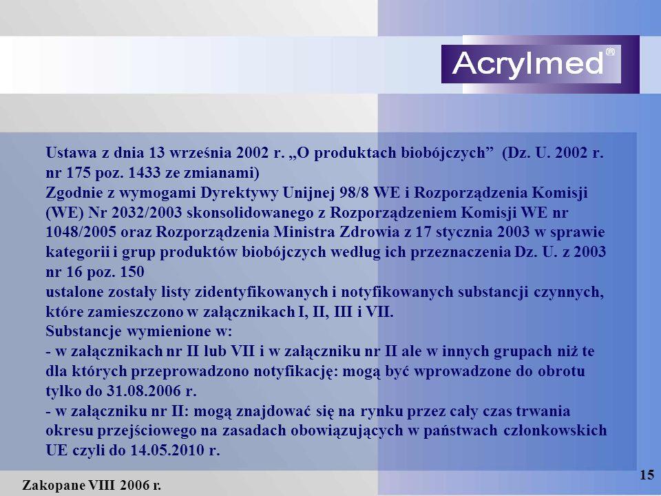 """15 Zakopane VIII 2006 r. Ustawa z dnia 13 września 2002 r. """"O produktach biobójczych"""" (Dz. U. 2002 r. nr 175 poz. 1433 ze zmianami) Zgodnie z wymogami"""
