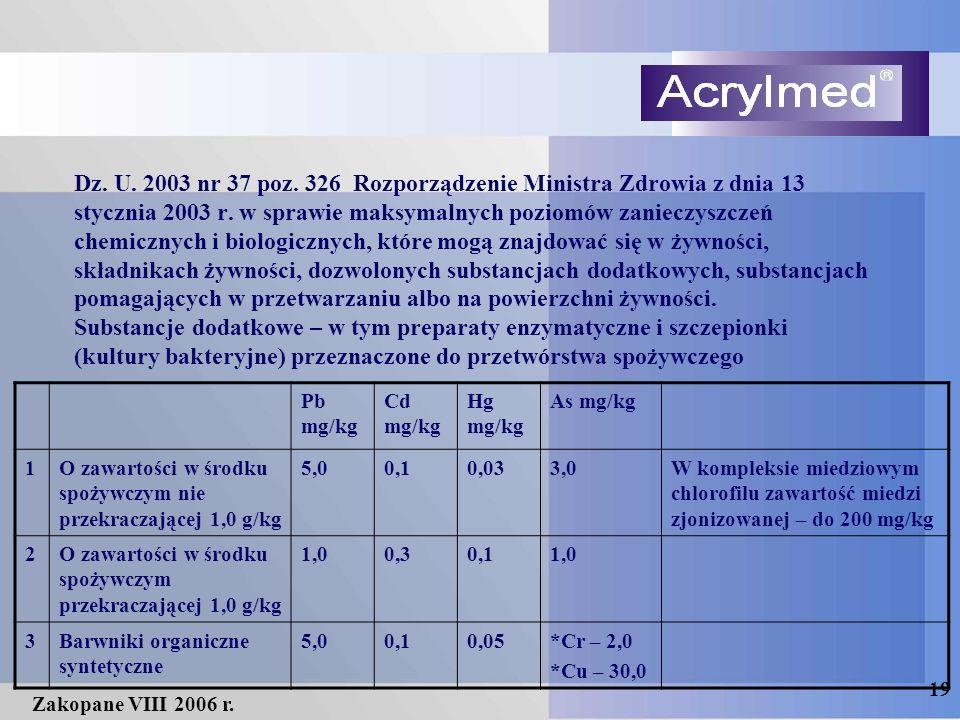 19 Zakopane VIII 2006 r. Dz. U. 2003 nr 37 poz. 326 Rozporządzenie Ministra Zdrowia z dnia 13 stycznia 2003 r. w sprawie maksymalnych poziomów zaniecz