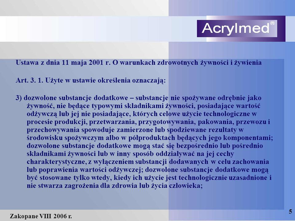 5 Zakopane VIII 2006 r. Ustawa z dnia 11 maja 2001 r.