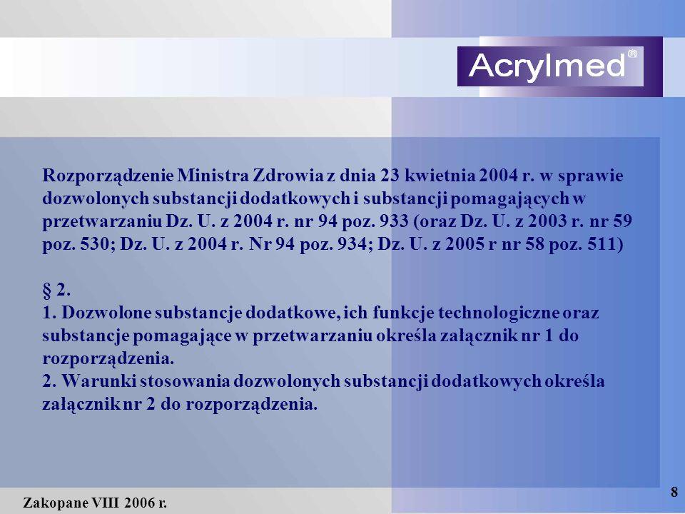 8 Zakopane VIII 2006 r. Rozporządzenie Ministra Zdrowia z dnia 23 kwietnia 2004 r. w sprawie dozwolonych substancji dodatkowych i substancji pomagając