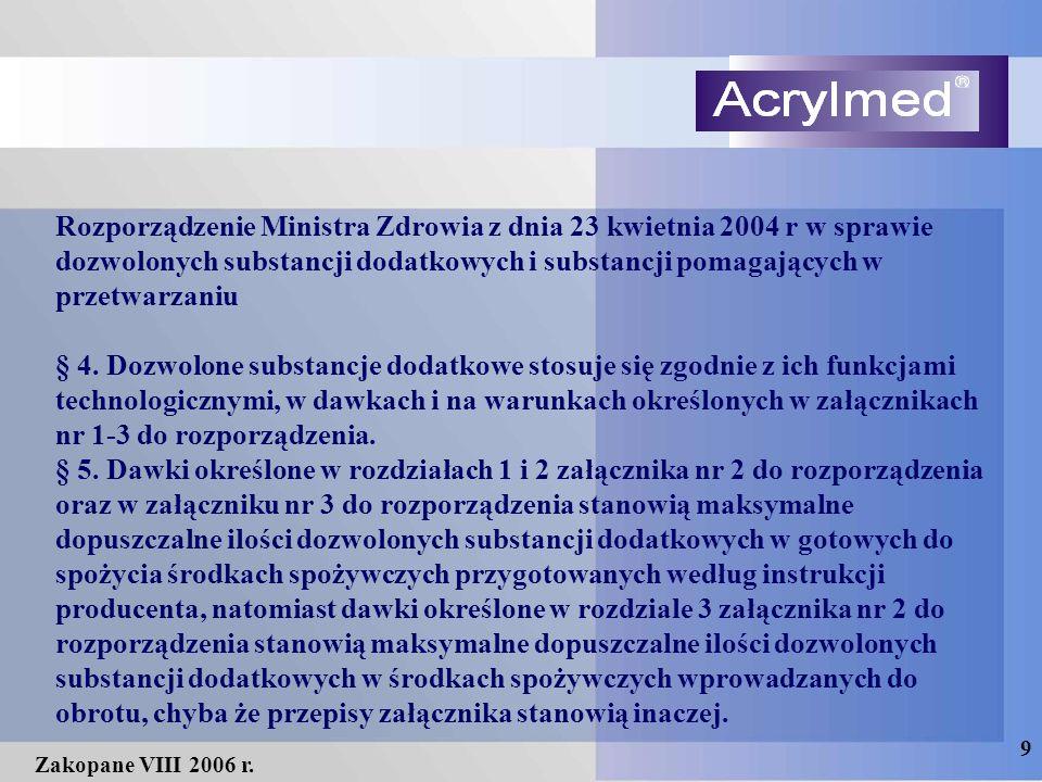 9 Zakopane VIII 2006 r. Rozporządzenie Ministra Zdrowia z dnia 23 kwietnia 2004 r w sprawie dozwolonych substancji dodatkowych i substancji pomagający