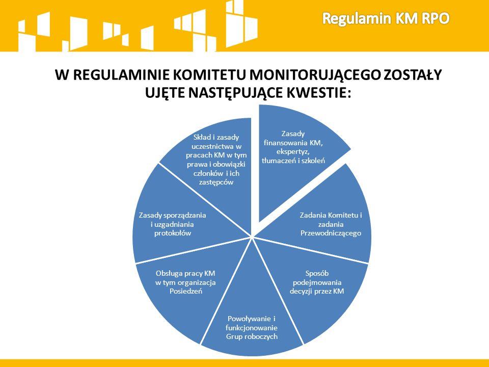 W REGULAMINIE KOMITETU MONITORUJĄCEGO ZOSTAŁY UJĘTE NASTĘPUJĄCE KWESTIE: Zasady finansowania KM, ekspertyz, tłumaczeń i szkoleń Zadania Komitetu i zad