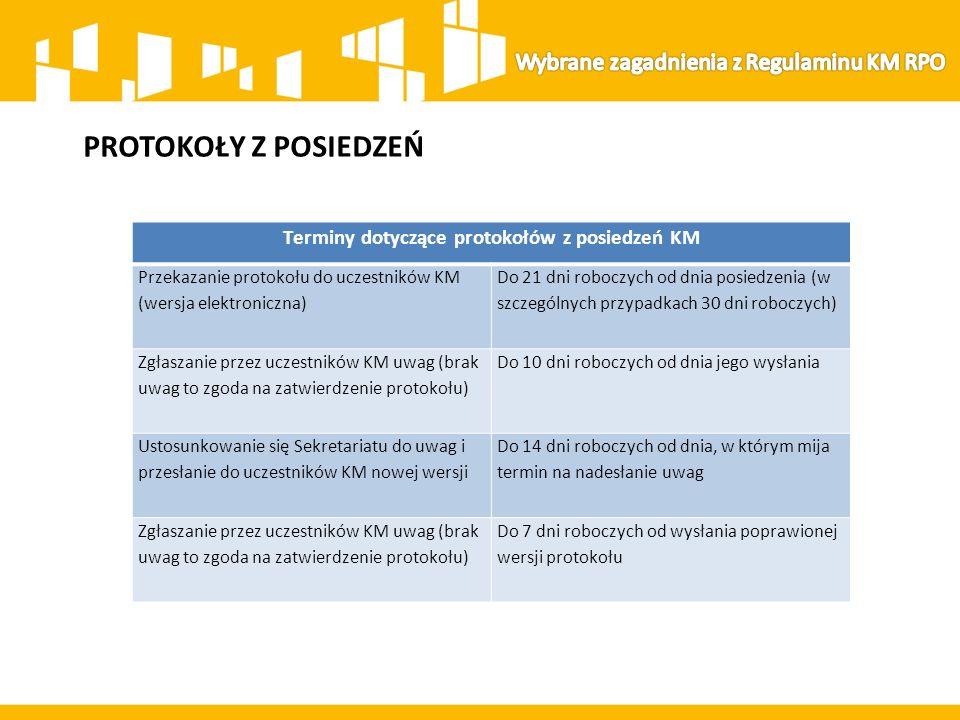PROTOKOŁY Z POSIEDZEŃ Terminy dotyczące protokołów z posiedzeń KM Przekazanie protokołu do uczestników KM (wersja elektroniczna) Do 21 dni roboczych o