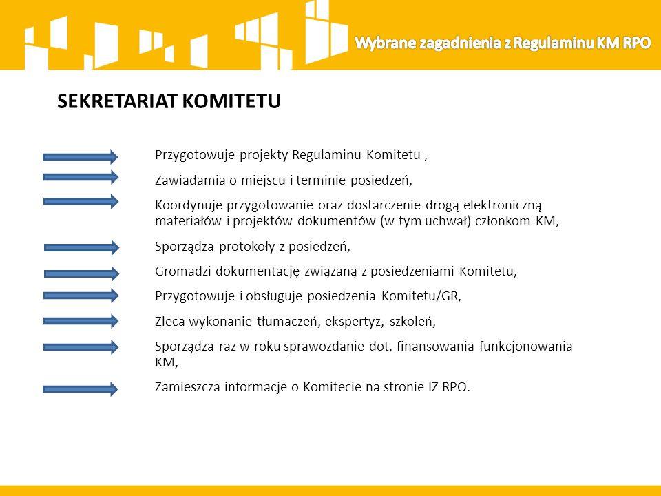 SEKRETARIAT KOMITETU Przygotowuje projekty Regulaminu Komitetu, Zawiadamia o miejscu i terminie posiedzeń, Koordynuje przygotowanie oraz dostarczenie drogą elektroniczną materiałów i projektów dokumentów (w tym uchwał) członkom KM, Sporządza protokoły z posiedzeń, Gromadzi dokumentację związaną z posiedzeniami Komitetu, Przygotowuje i obsługuje posiedzenia Komitetu/GR, Zleca wykonanie tłumaczeń, ekspertyz, szkoleń, Sporządza raz w roku sprawozdanie dot.