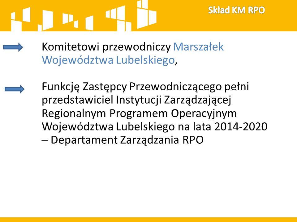 Komitetowi przewodniczy Marszałek Województwa Lubelskiego, Funkcję Zastępcy Przewodniczącego pełni przedstawiciel Instytucji Zarządzającej Regionalnym