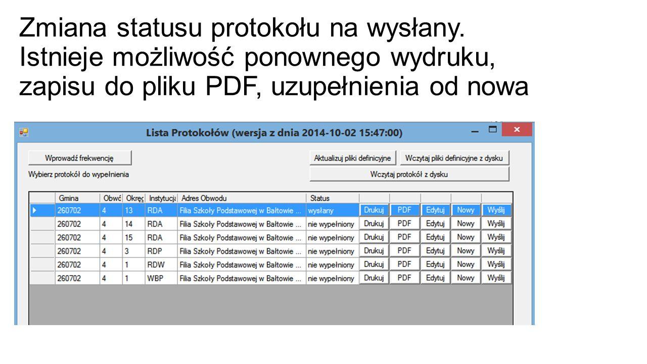 Zmiana statusu protokołu na wysłany.