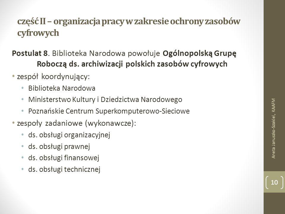 część II – organizacja pracy w zakresie ochrony zasobów cyfrowych Postulat 8.
