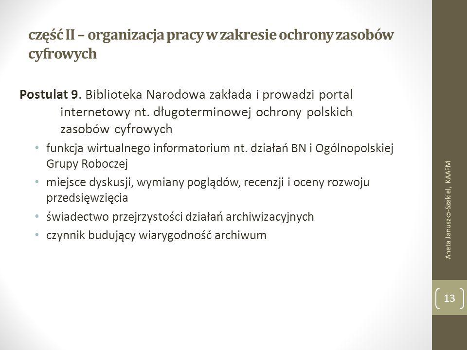 część II – organizacja pracy w zakresie ochrony zasobów cyfrowych Postulat 9.