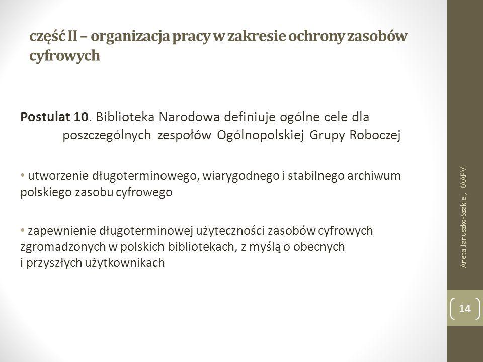 część II – organizacja pracy w zakresie ochrony zasobów cyfrowych Postulat 10.