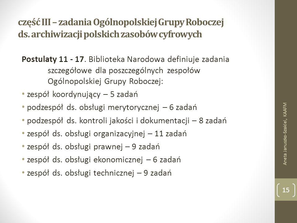 część III – zadania Ogólnopolskiej Grupy Roboczej ds.